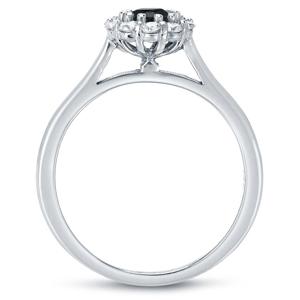 JOSEPHINE  Black  Diamond  Halo  Engagement  Ring  In  14K  White  Gold