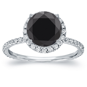 CATHERINE Black Diamond Halo Engagement Ring In 14K White Gold
