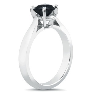 NORAH  Black  Diamond  Solitaire  Engagement  Ring  In  14K  White  Gold