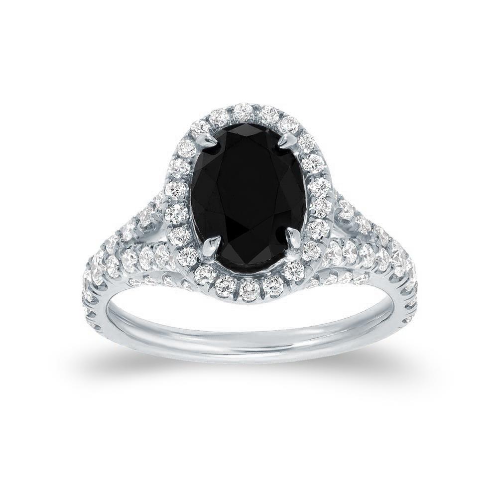RAELYNN Black Oval Cut Engagement Ring In 14K White Gold