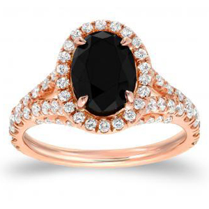 black oval cut engagement ring