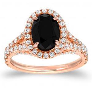 RAELYNN Black Oval Cut Engagement Ring In 14K Rose Gold