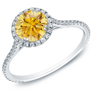 Yellow Diamond Halo Engagement Ring In 14K White Gold
