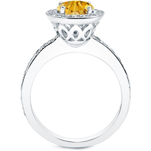 Yellow Diamond Engagement Ring In 14K White Gold