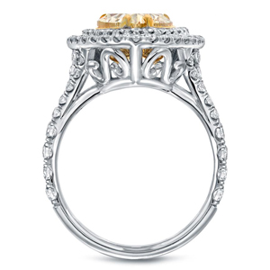 Fancy Yellow Pear Diamond Halo Engagement Ring In 18K Two Tone