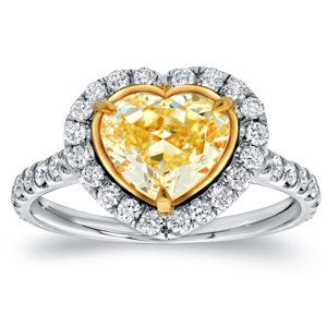 Fancy Yellow Heart Diamond Engagement Ring In 18K Two Tone