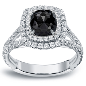 RAVEN Black Cushion Cut Engagement Ring In 14K White Gold with 1.00 ct Black Diamond
