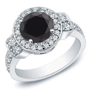 EMERY Black Diamond Round Cut Halo Engagement Ring In 14K White Gold