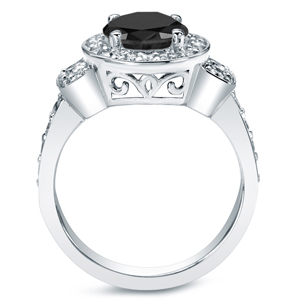 Black Diamond Round Cut Halo Engagement Ring In 14K White Gold