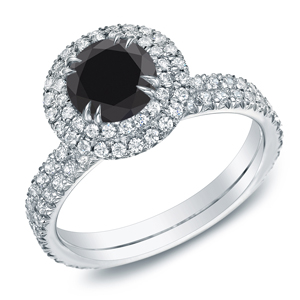 CAMILA Black Diamond Round Cut Double Halo Engagement Ring In 14K White Gold