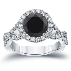 TRINITY Black Diamond Round Cut Halo Engagement Ring In 14K White Gold