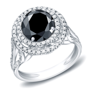 DARYA Black Diamond Round Cut Double Halo Engagement Ring In 14K White Gold