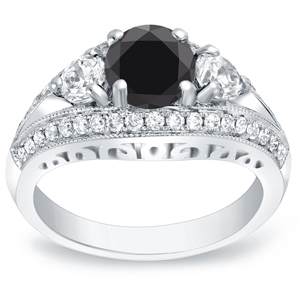 TERRA Black Diamond Round Cut Engagement Ring In 14K White Gold