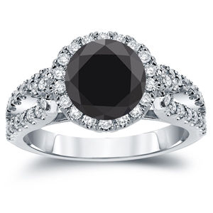 GENEVIEVE Black Diamond Round Cut Halo Engagement Ring In 14K White Gold