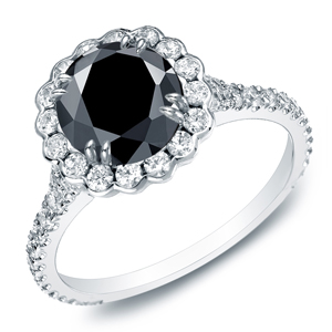 ANGELINA Black Diamond Round Cut Halo Engagement Ring In 14K White Gold