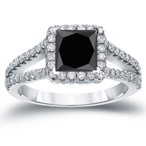 LUCILLE Black Diamond Princess Cut Halo Engagement Ring In 14K White Gold