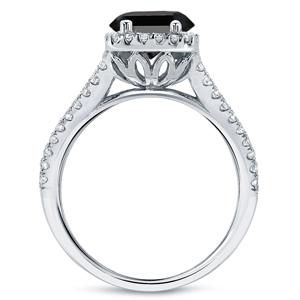 Black Diamond Princess Cut Halo Engagement Ring In 14K White Gold