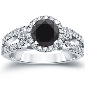 ADALYNN  Black  Diamond  Round  Cut  Halo  Engagement  Ring  In  14K  White  Gold