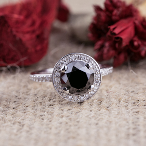 ALAINA  Black  Diamond  Round  Cut  Halo  Engagement  Ring  In  14K  White  Gold