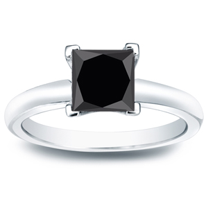 IVY  Black  Diamond  Princess  Cut  Solitaire  Engagement  Ring  In  14K  White  Gold