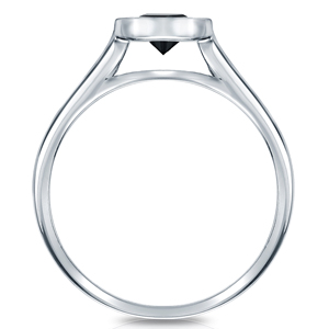 BRIANNA  Black  Diamond  Round  Cut  Bezel  Solitaire  Engagement  Ring  In  14K  White  Gold