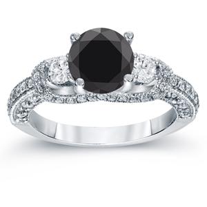 Black Diamond Round Cut Engagement Ring In 14K White Gold