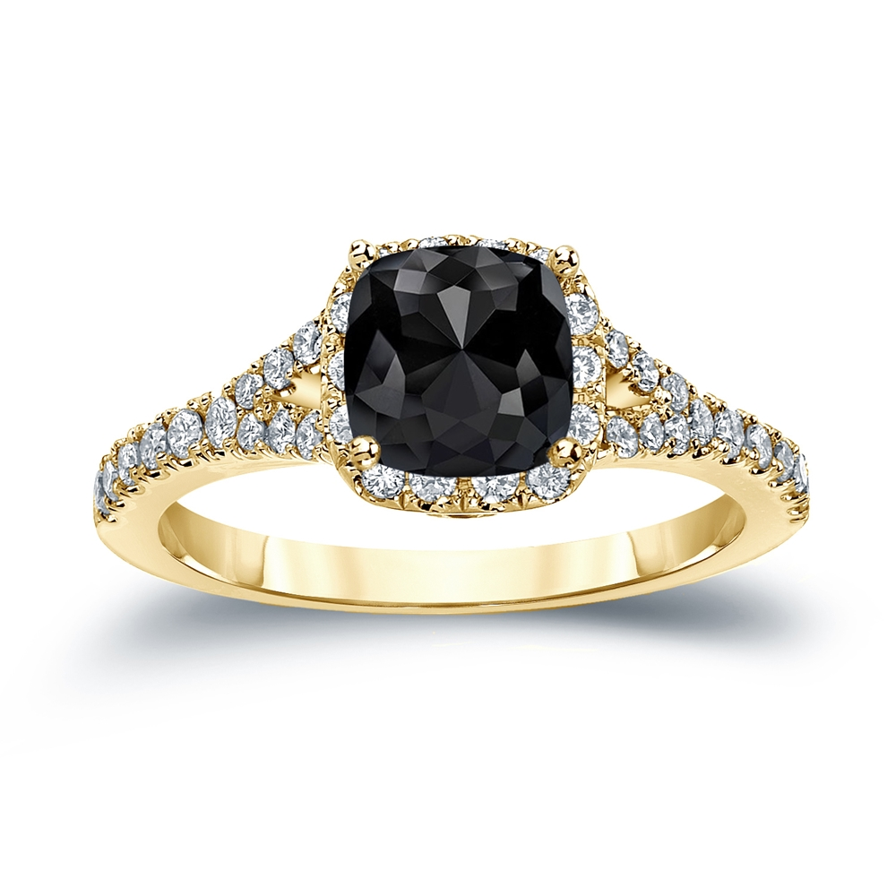 Jessica Black Diamond Cushion Cut Halo Engagement Ring In 18k Yellow Gold
