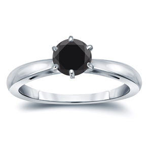 ISLA  Black  Diamond  Round  Cut  Solitaire  Engagement  Ring  In  14K  White  Gold