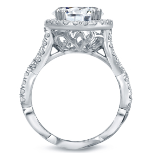 Oval Cut Diamond Halo Engagement Ring 5.75 carat tw in 14k White Gold
