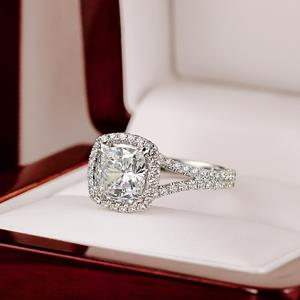 Cushion Cut Diamond Halo Engagement Ring In 14k White Gold