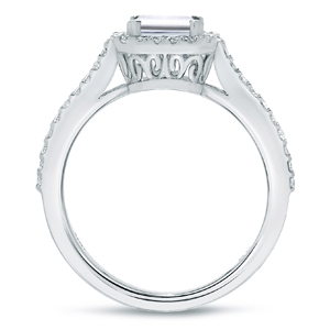 Emerald Cut Diamond Halo Engagement Ring In 14k White Gold
