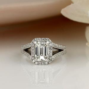 Emerald Cut Diamond Halo Engagement Ring Luxury Le Desire in 14k White Gold