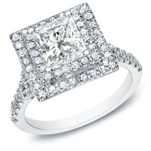Princess Cut Diamond Double Halo Engagement Ring In 14k White Gold