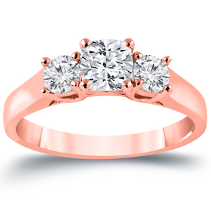 MEGHAN Three Stone Cushion Cut Engagement Ring In 14K Rose Gold 1.00 ctw