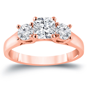 MEGHAN Three Stone Cushion Cut Engagement Ring In 14K Rose Gold 1.50 ctw