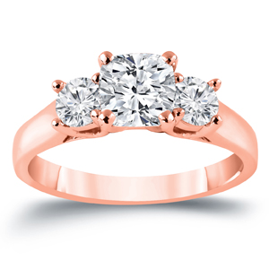 MEGHAN Three Stone Cushion Cut Engagement Ring In 14K Rose Gold 2.00 ctw