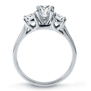 MEGHAN Three Stone Cushion Cut Engagement Ring In 14K White Gold 1.50 ctw