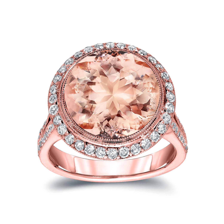 VANESA Halo Morganite Engagement Ring In 14K Rose Gold With 5.00 Carat Round Stone