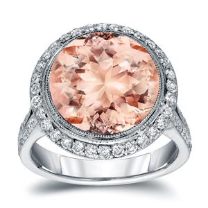 VANESA Halo Morganite Engagement Ring In 14K White Gold With 5.00 Carat Round Stone