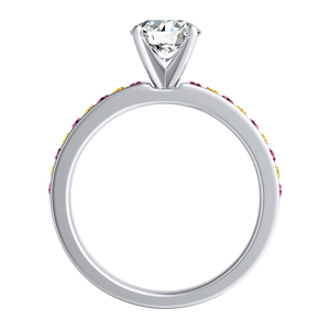 ALENA Classic Diamond Engagement Ring with alternating gemstones In 14K White Gold
