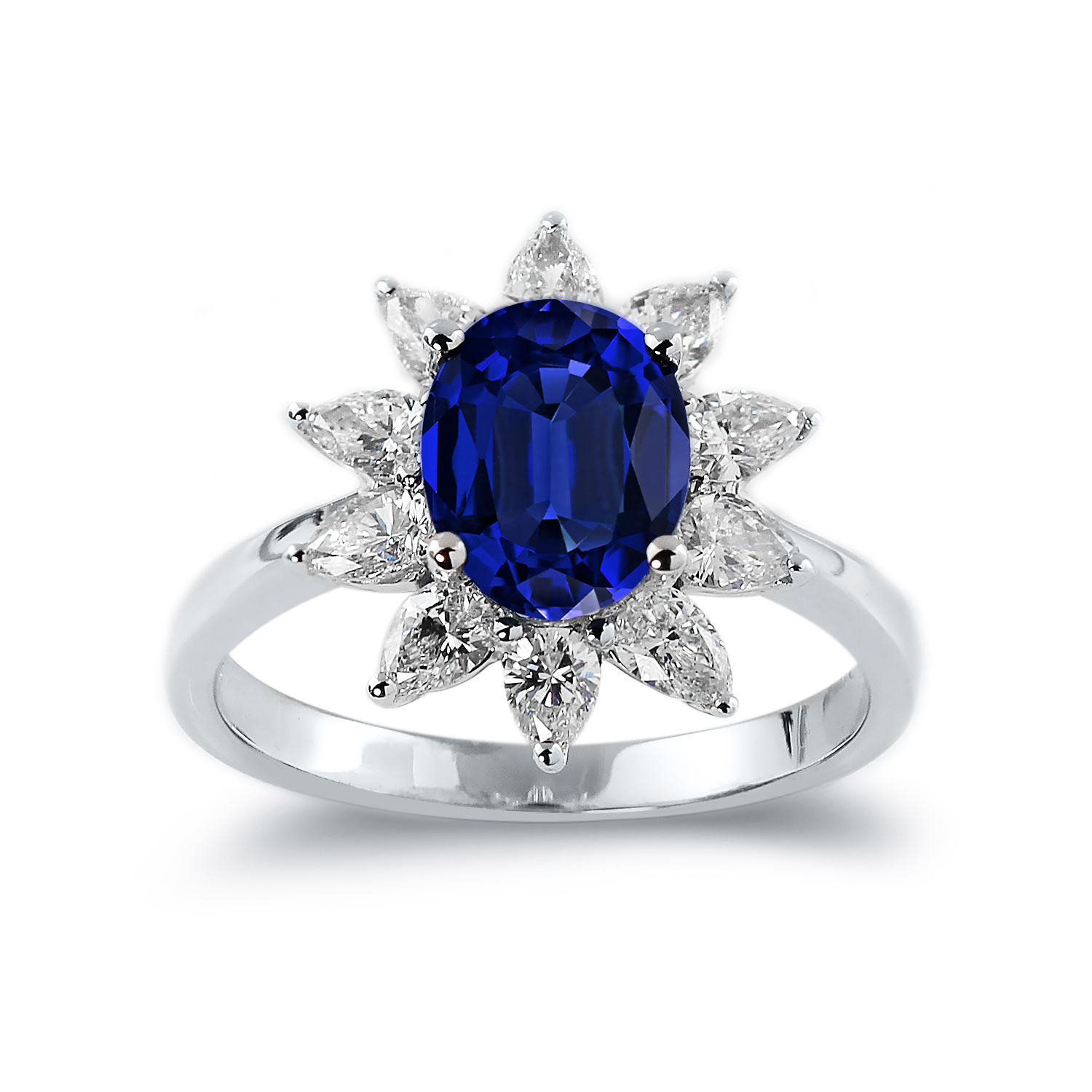 Delilah Princess Diana Inspired Halo Blue Sapphire Diamond Ring in 18K White Gold With 2 1/3 carat Oval Blue Sapphire