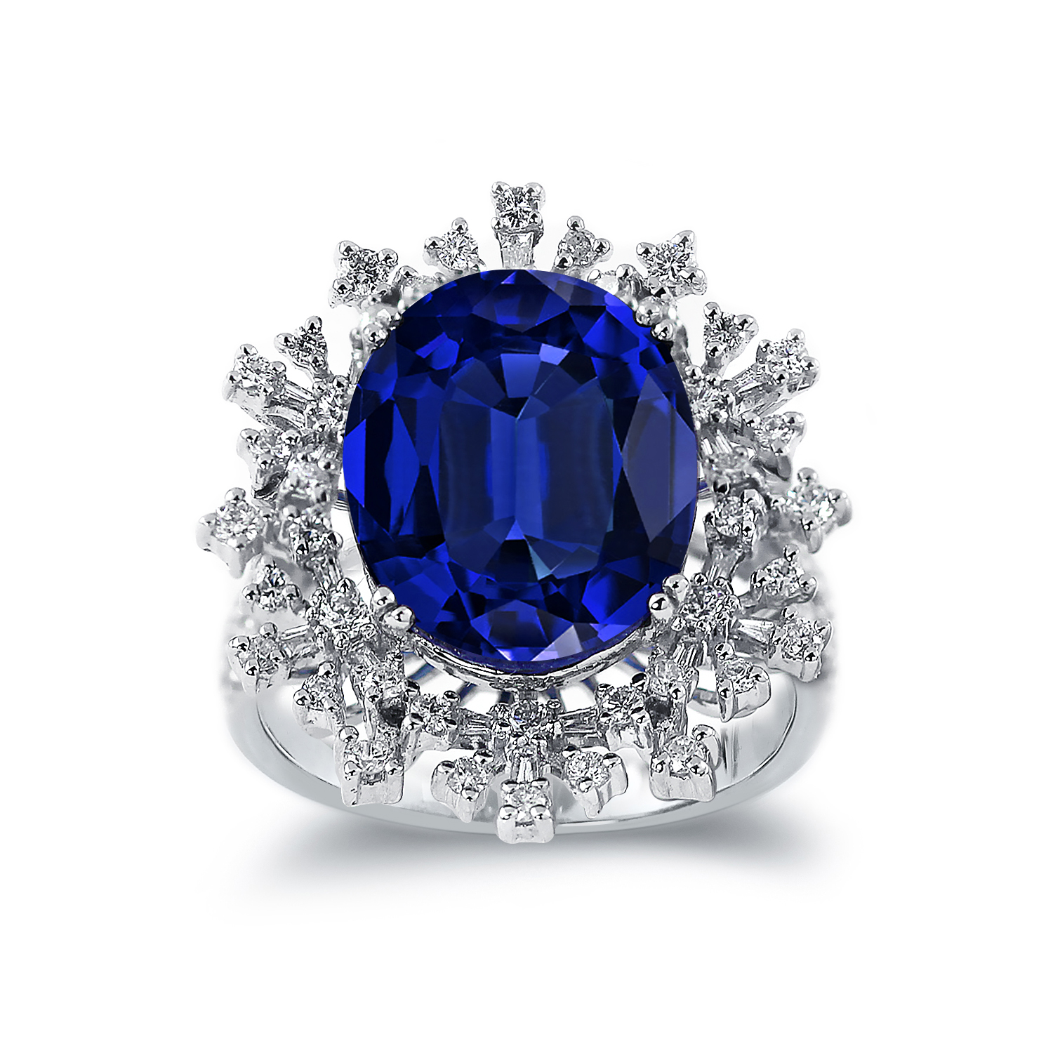 Andrea Princess Diana Inspired Halo Blue Sapphire Diamond Ring in 18K White Gold With 8.70 carat Oval Blue Sapphire