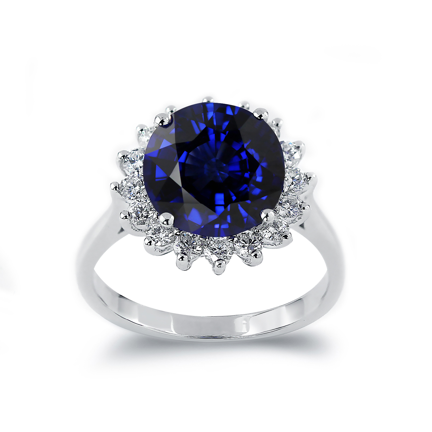 Morgan Princess Diana Inspired Halo Blue Sapphire Diamond Ring in 18K White Gold With 4 carat Round Blue Sapphire