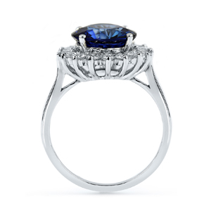 Morgan  Princess  Diana  Inspired  Halo  Blue  Sapphire  Diamond  Ring  in  18K  White  Gold  With  4  caratt  Round  Blue  Sapphire