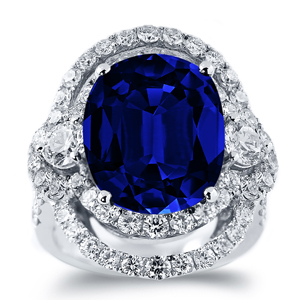 Ivy Princess Diana Inspired Halo Blue Sapphire Diamond Ring in 18K White Gold With 10 carat Oval Blue Sapphire