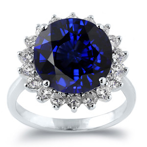 Mary Princess Diana Inspired Halo Blue Sapphire Diamond Ring in 18K White Gold With 7 carat Round Blue Sapphire
