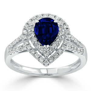 Brielle Double Halo Blue Sapphire Diamond Ring in 18K White Gold With 1.38 carat Pear Blue Sapphire