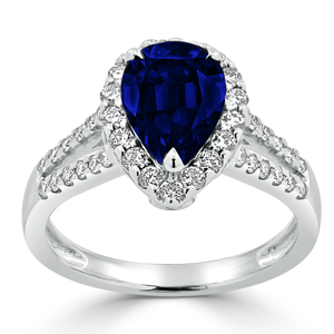 Josephine Halo Blue Sapphire Diamond Ring in 18K White Gold With 2.58 carat Pear Blue Sapphire