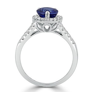 Josephine  Halo  Blue  Sapphire  Diamond  Ring  in  18K  White  Gold  With  2  5/8  carat  Pear  Blue  Sapphire