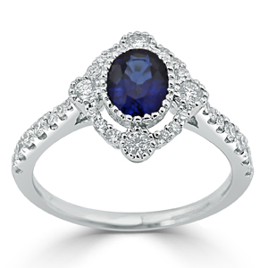 Adalyn Halo Blue Sapphire Diamond Ring in 18K White Gold With 0.91 carat Oval Blue Sapphire